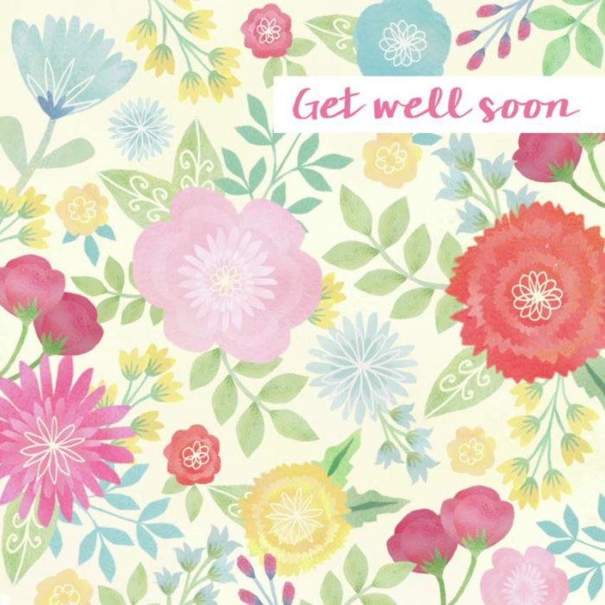Watercolour Flowers Get Well
