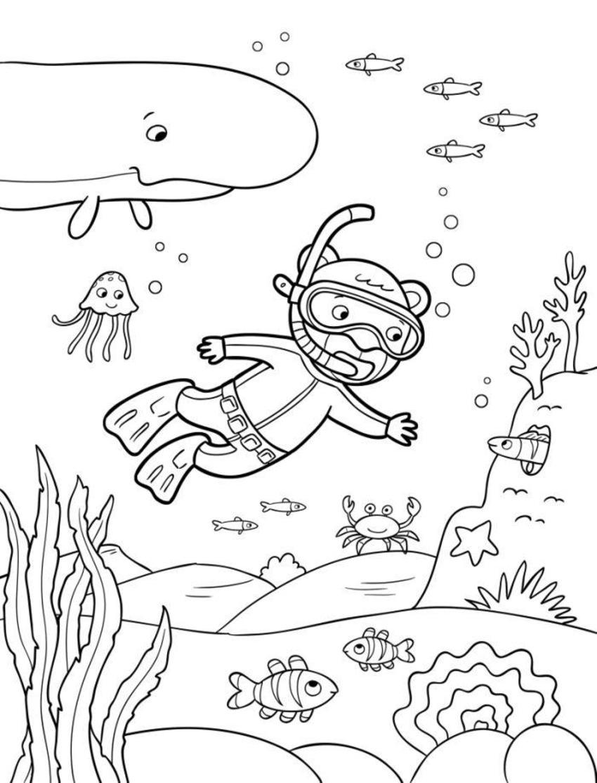 Line Artwork Igloo Diver