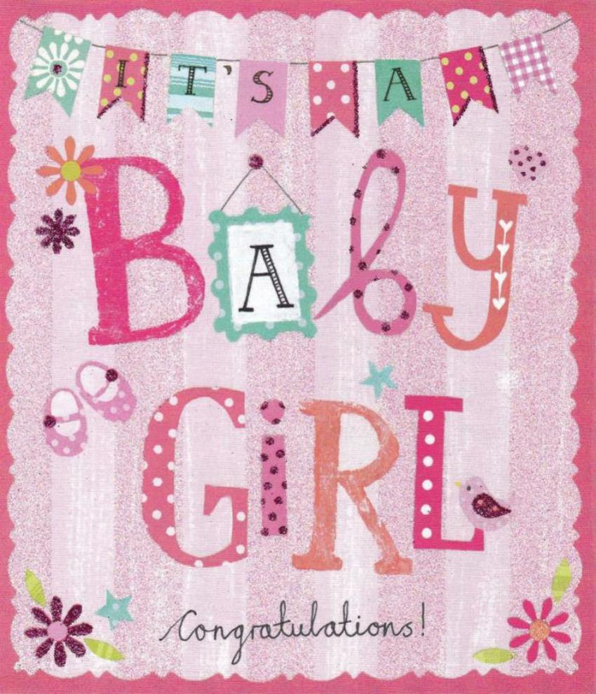 Baby Girl Lettering & Bunting