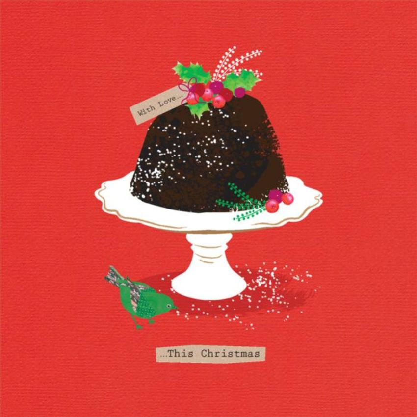 Christmas Pudding With Holly And Bird