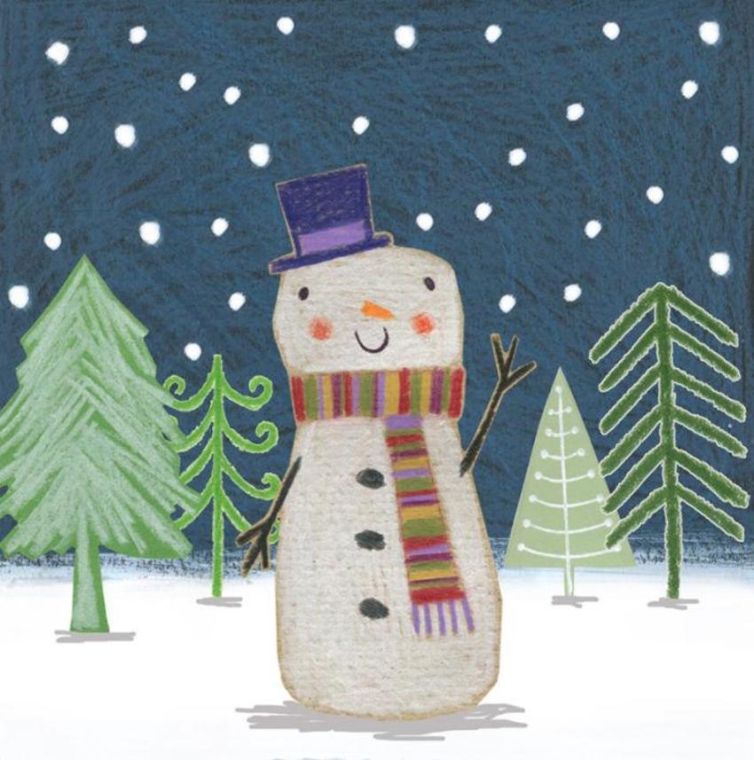 Christmas Snowman Trees Snow