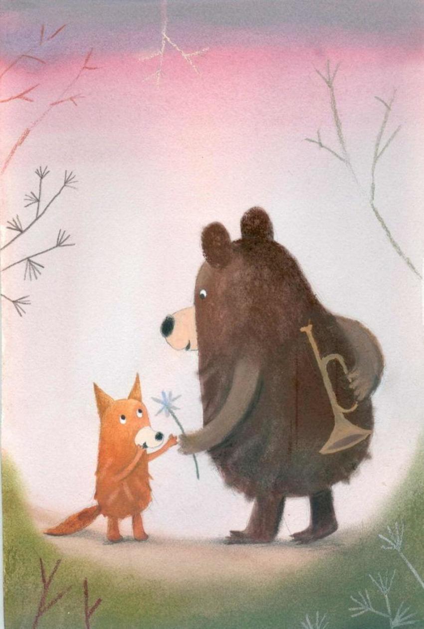 Прикольные картинки медведь с лисой