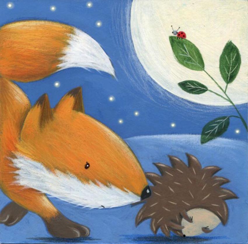 Hedgehog Fox Moon