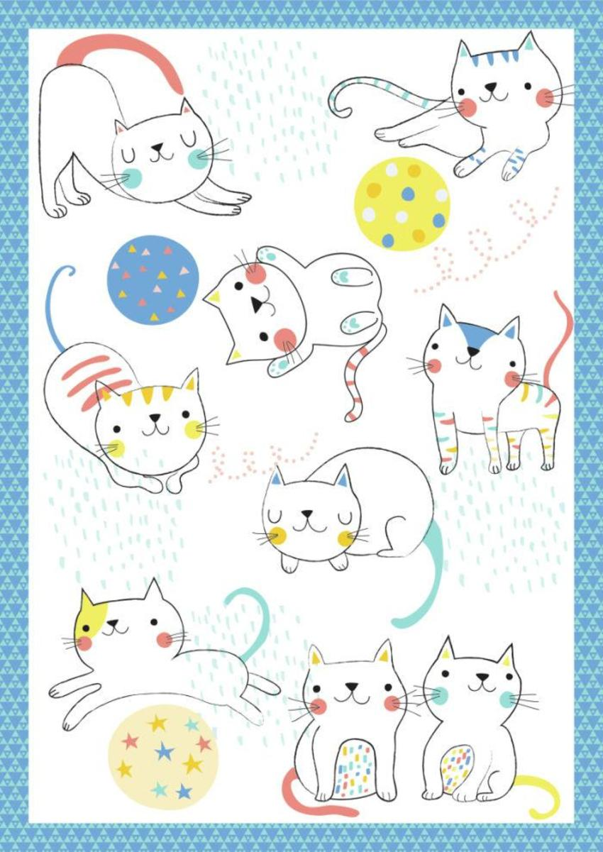 Cats With Ball Print - GM-01