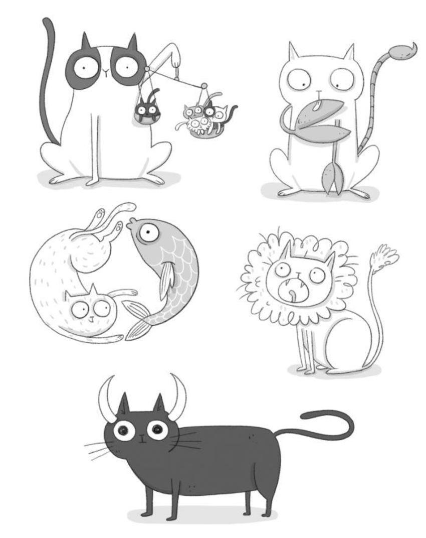 Zodiac Cat Blackandwhite Animal Funny Humor