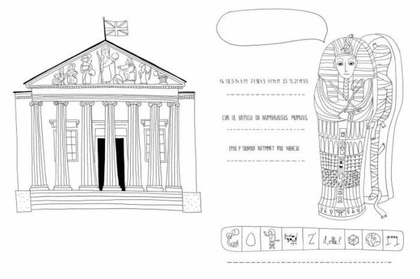 London Activity Line Colouring Building Mummy Egyptian Hieroglyphic