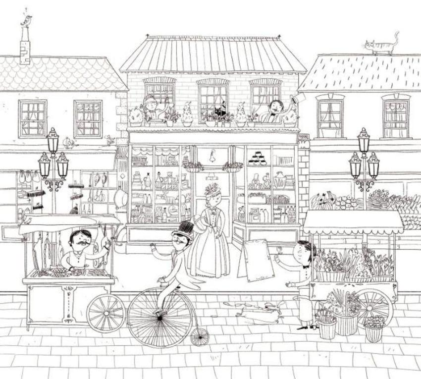 Victorian Street Colouring Detailed People Animals Shops