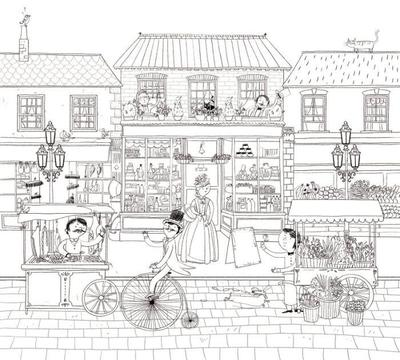 victorian-street-colouring-detailed-people-animals-shops