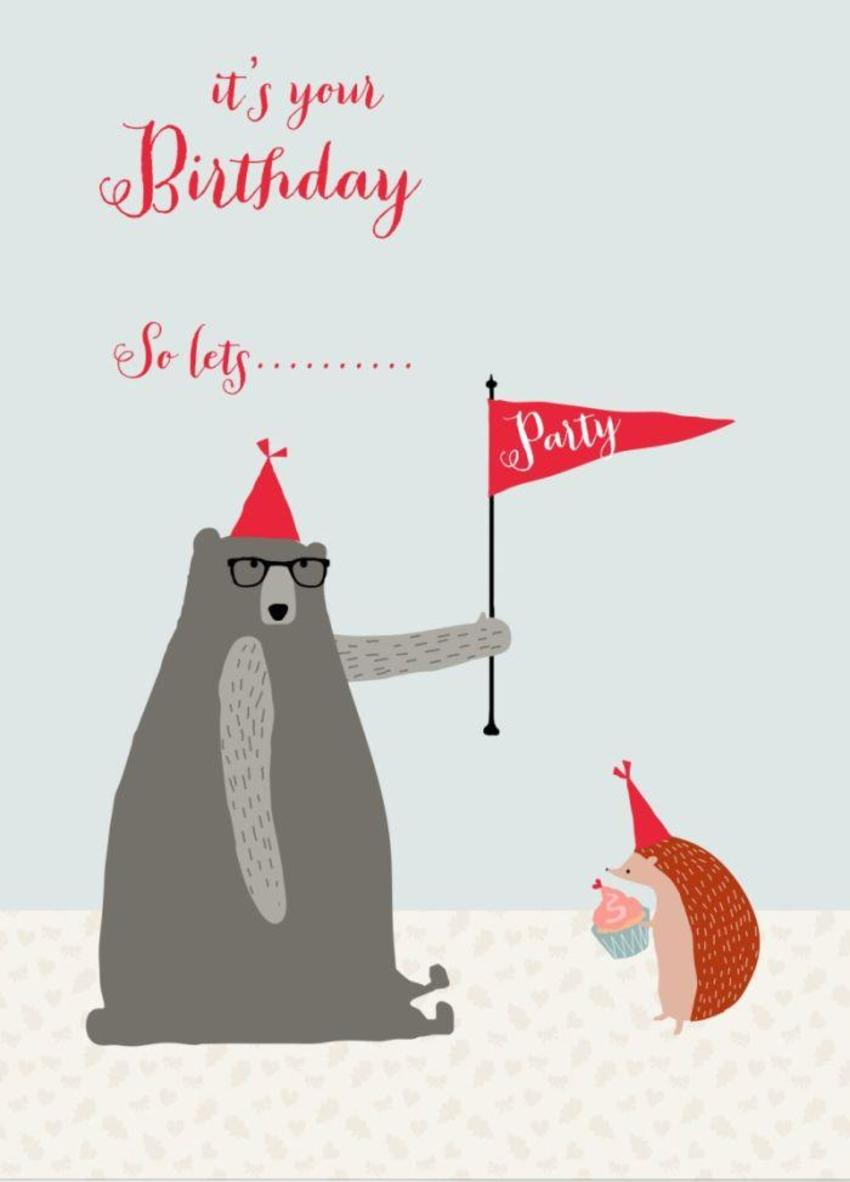 Party Bday Hedgehog Bear Red Hat Fun
