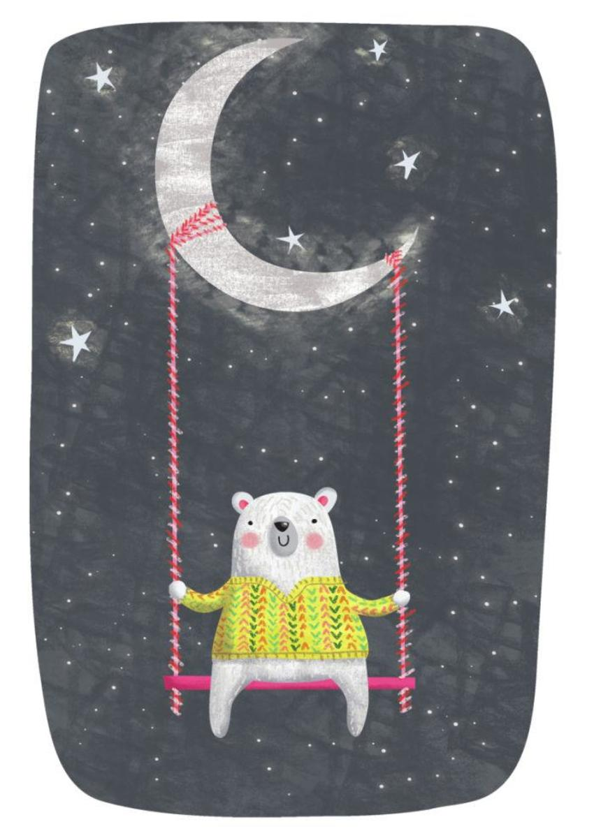 Bear On Swing Hanging From Moon - GM