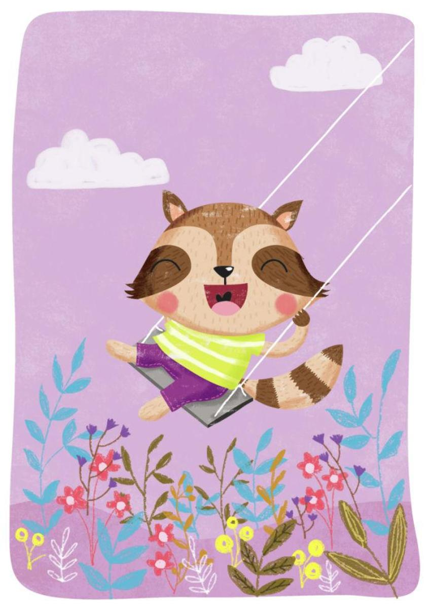 Raccoon On Swing - Gina Maldonado