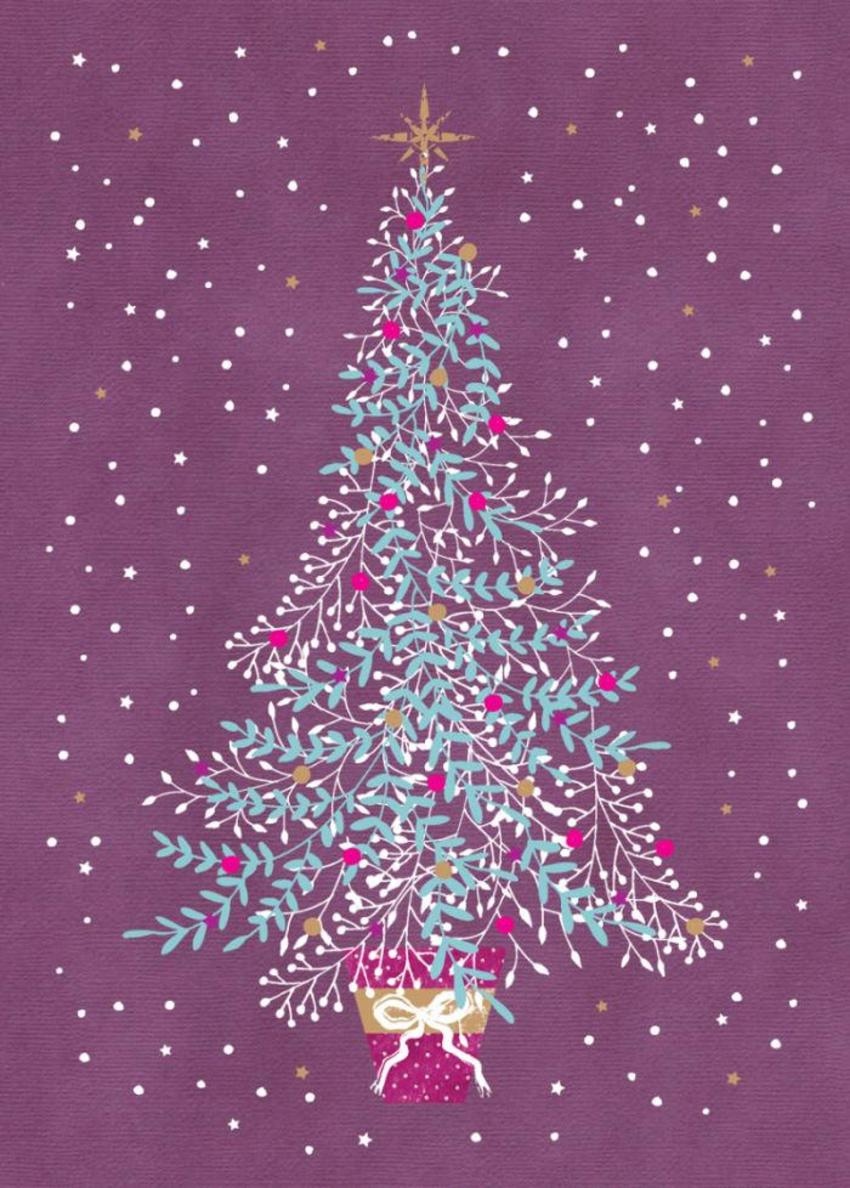 Christmas Tree And Snow On Purple Background