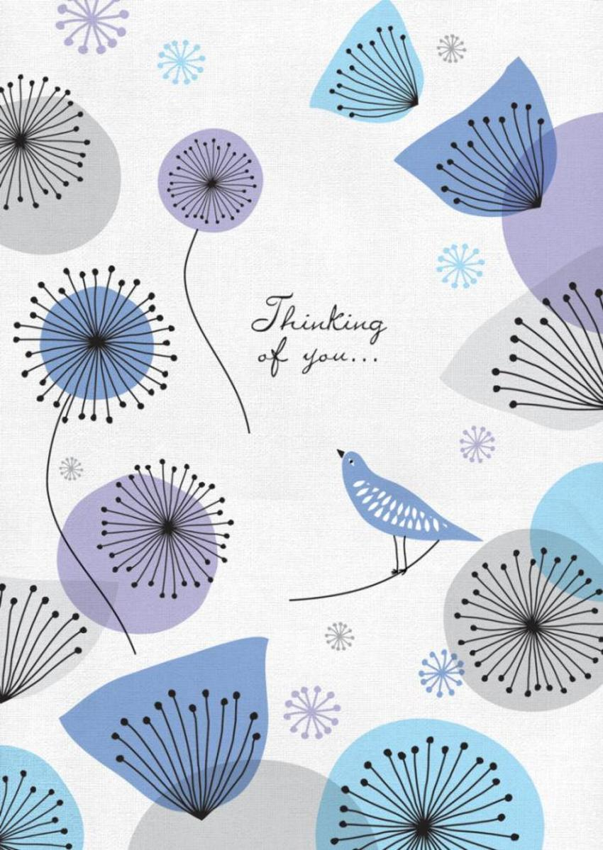 Female Birthday Thinking Of You Thank You 50s Style Bird And Flowers 2