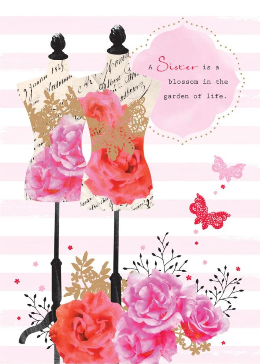 Female Birthday Mothers Day Sister Quote Floral Busts Manequins With Flowers