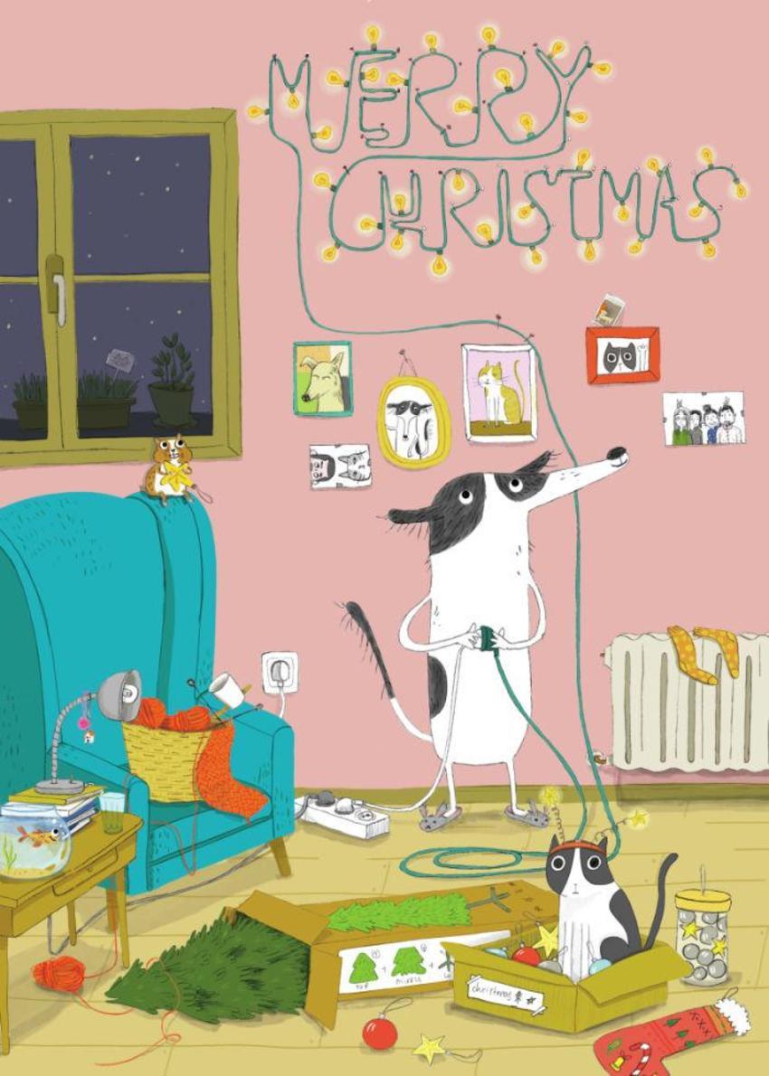 Christmas Family Pets Livingroom Decoration Lights Cat Dog Funny Humor Warm Knit Tree