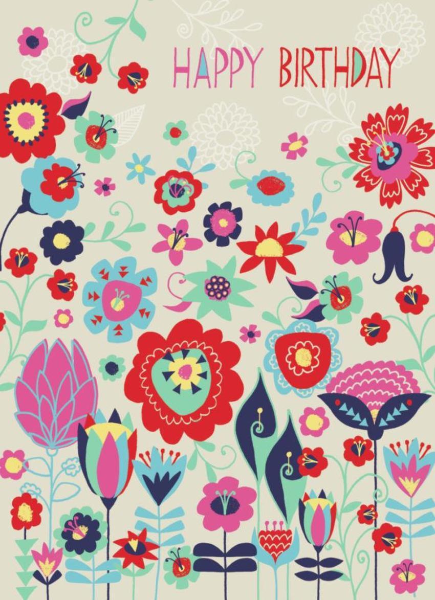 Modern Flowers And Leaves Birthday