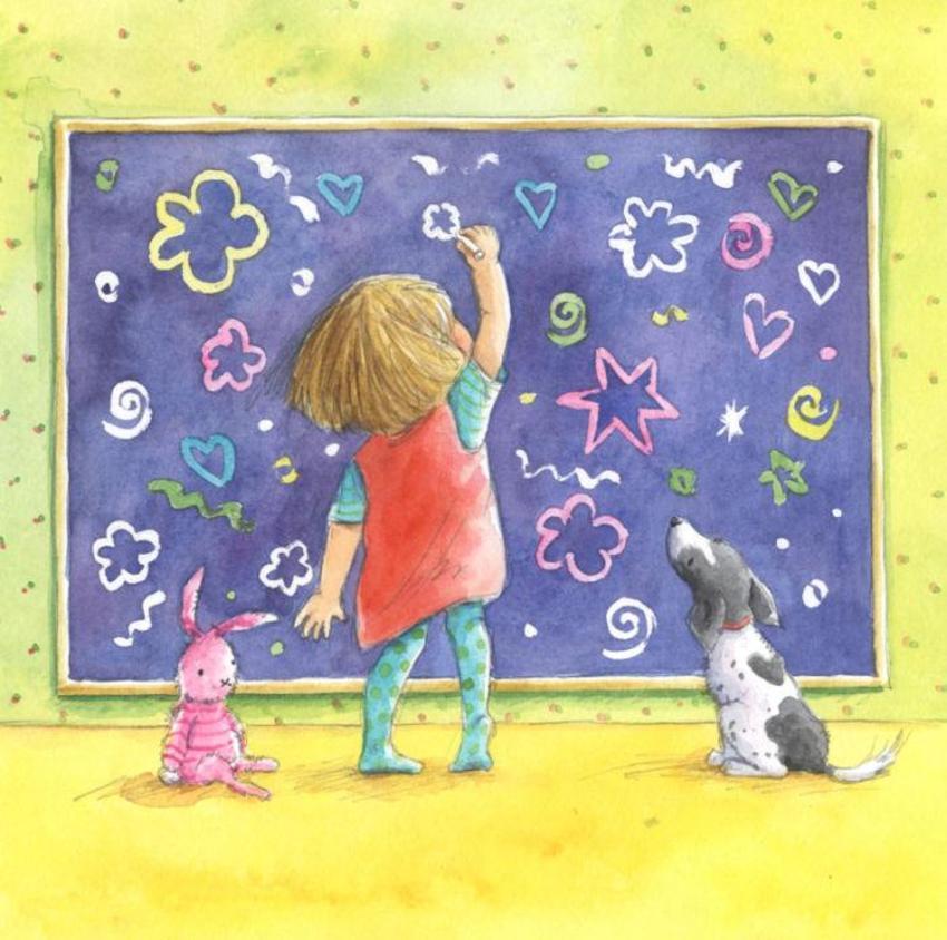 corke girl dog chalk board.jpg