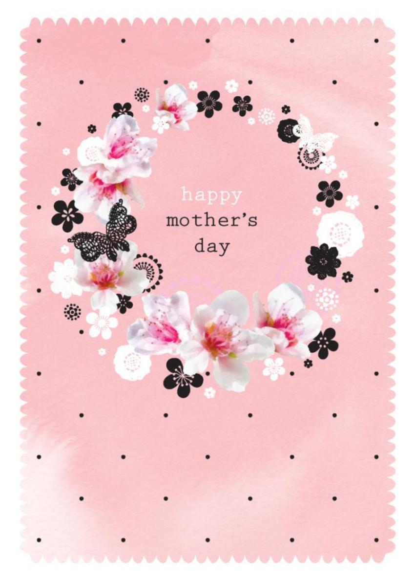 Female Birthday Mothers Day Flowers Butterflies On Floral Wreath