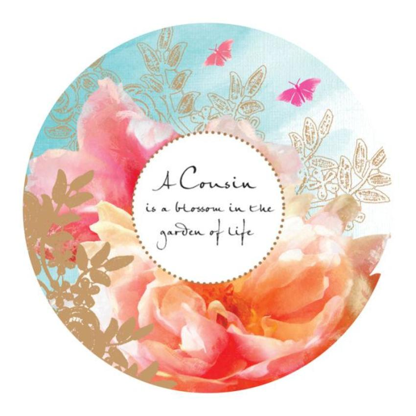 Female Birthday Mothers Day Cousin Quote Floral Pink Flowers In Disc