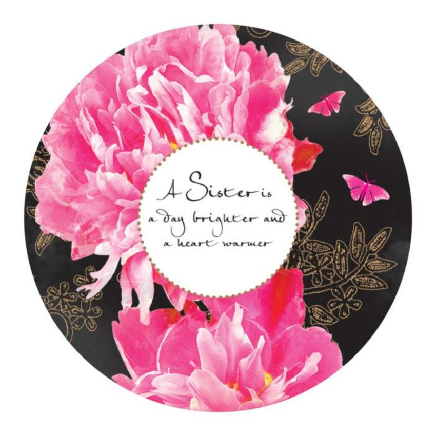 Female Birthday Mothers Day Sister Quote Floral Pink Flowers In Disc
