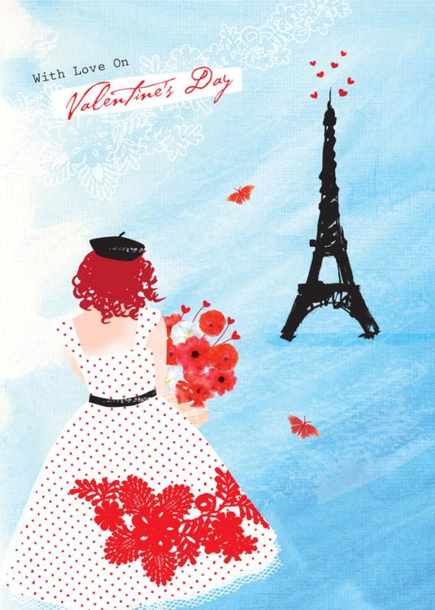 Love Valentines Day Female Birthday Bon Voyage Eiffel Tower Girl In Paris