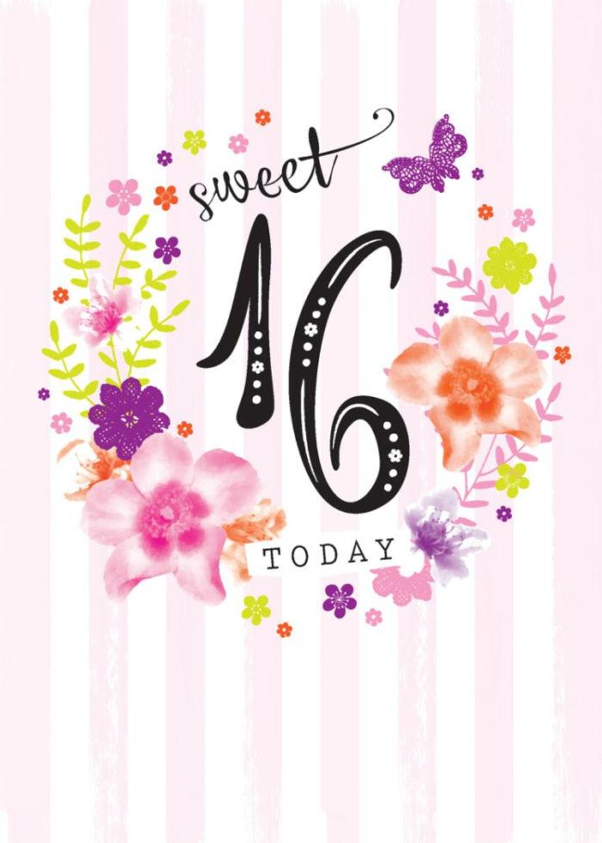 Age Birthday Milestone Big Number 16 16th In Floral Wreath
