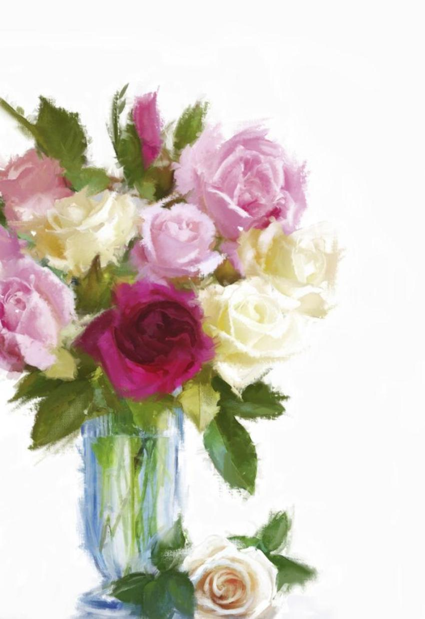Roses In Blue Vase .jpg