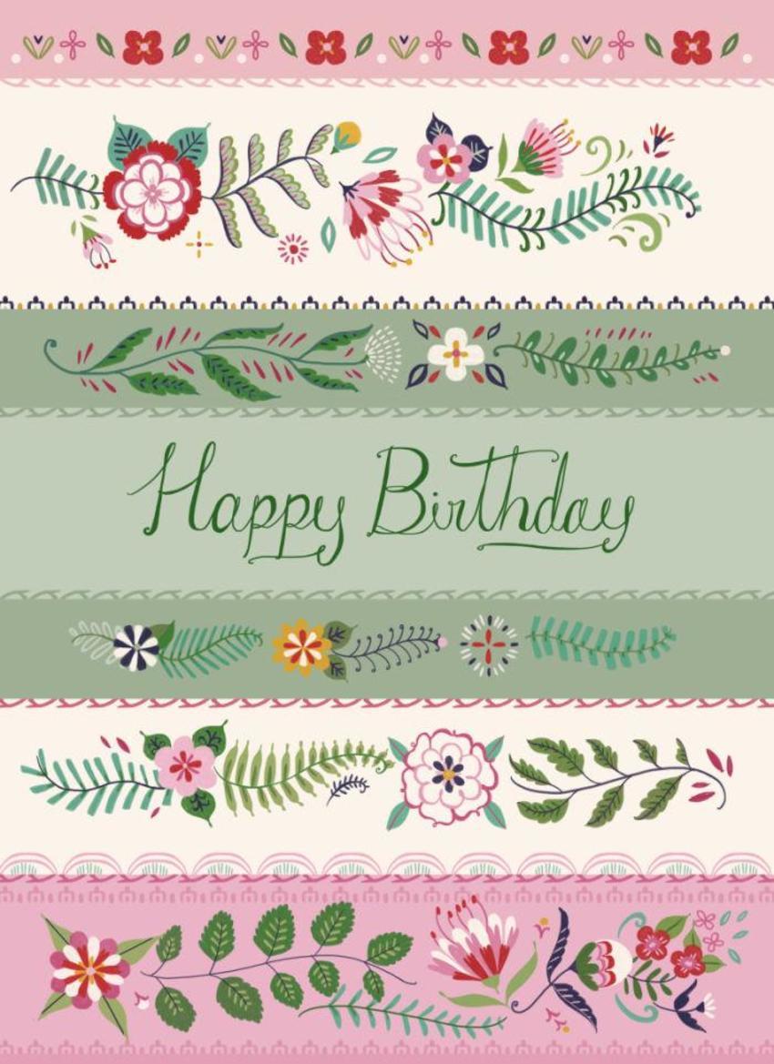 Floral Stripes Birthday Card