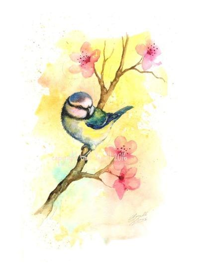 watercolour-birds-bluetit-on-blossom-watercolour-card-design