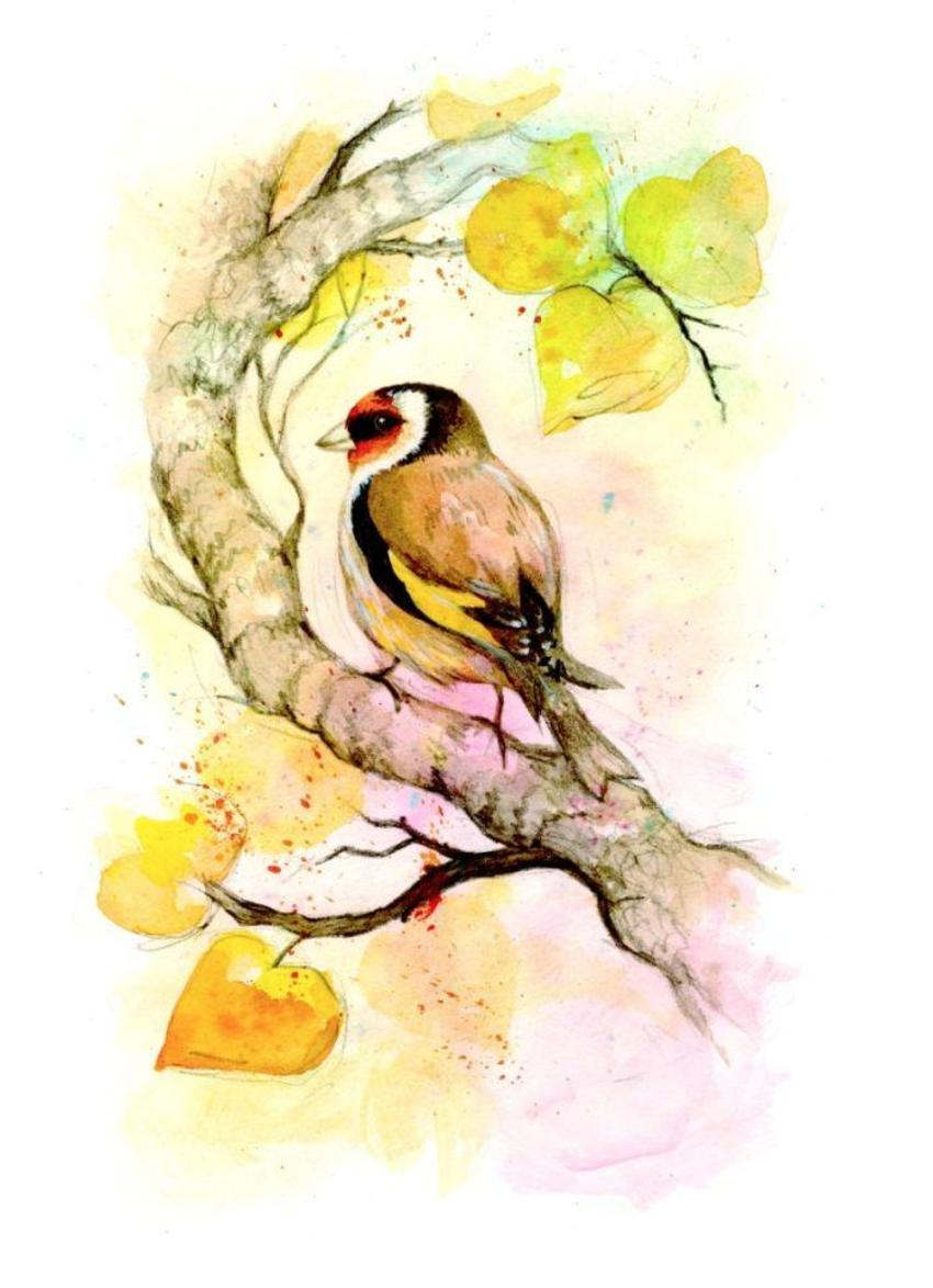 Watercolour Birds-goldfinch On Branch_card Design