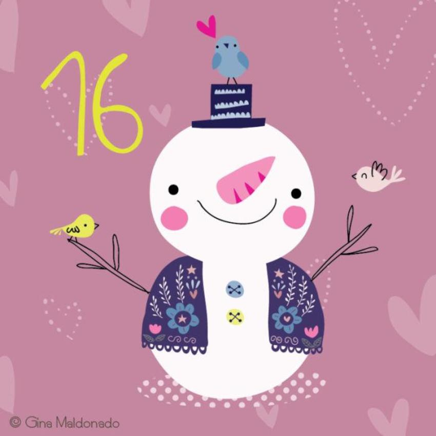 16 - Snowman And Birds - GM