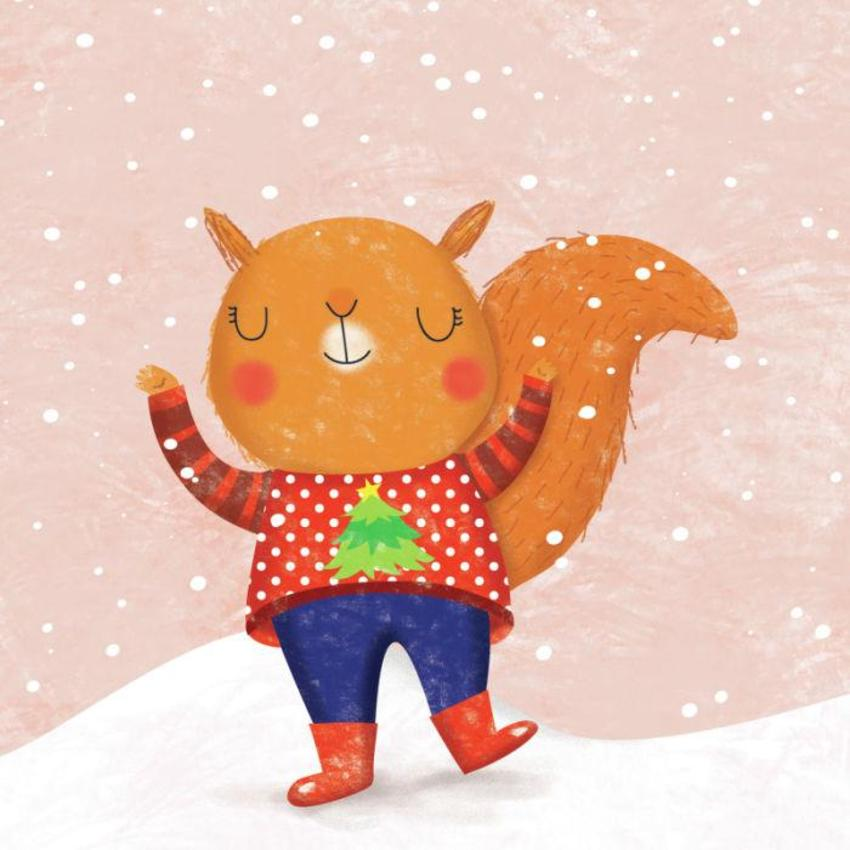 Squirrel With Christmas Jumper