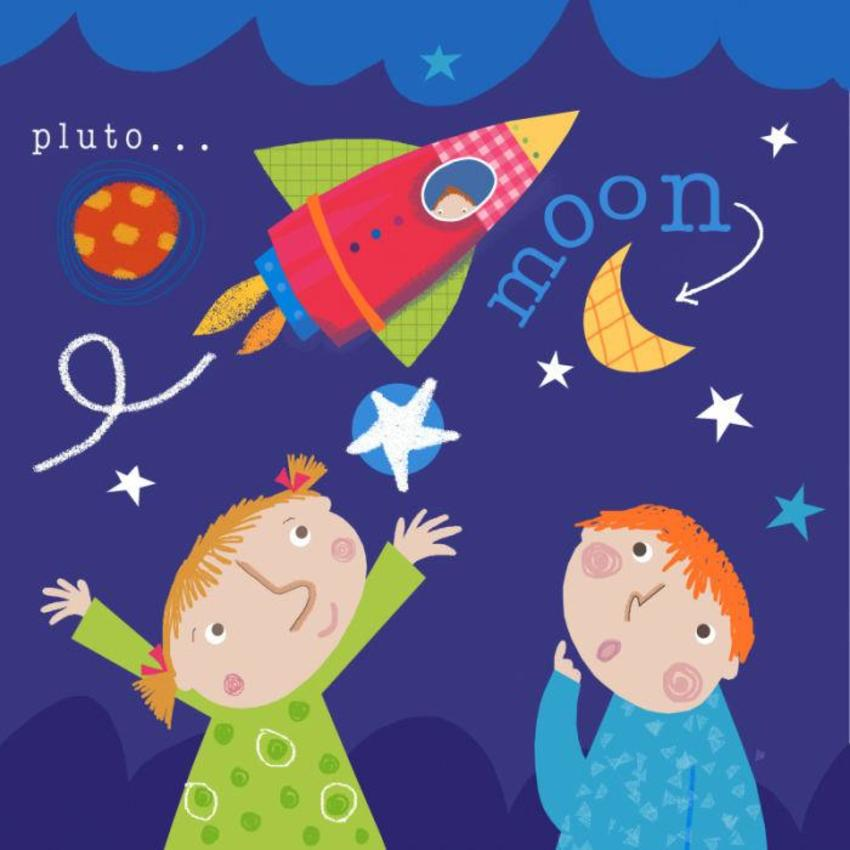 J Schof Children Moon And Rocket
