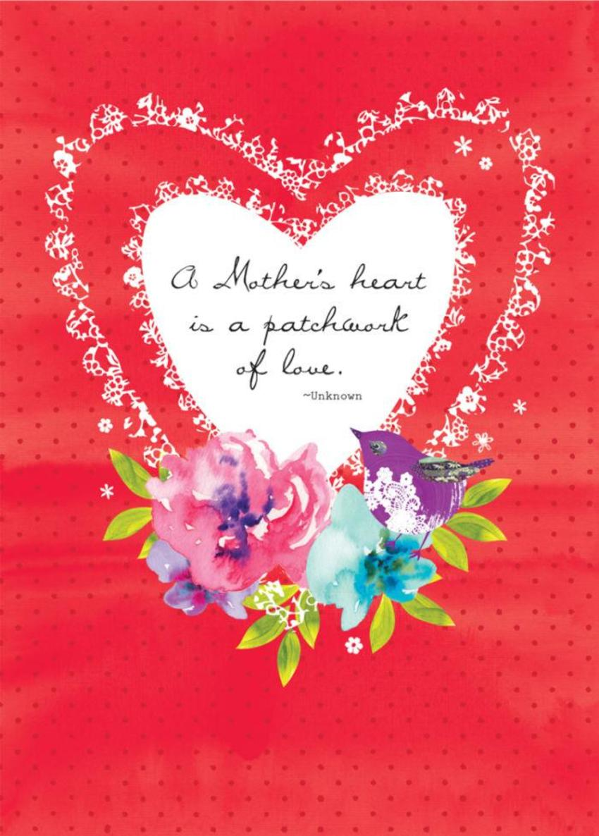 Mothers Day Mum Quote Valentines Day Floral Flowers Love Heart And Bird