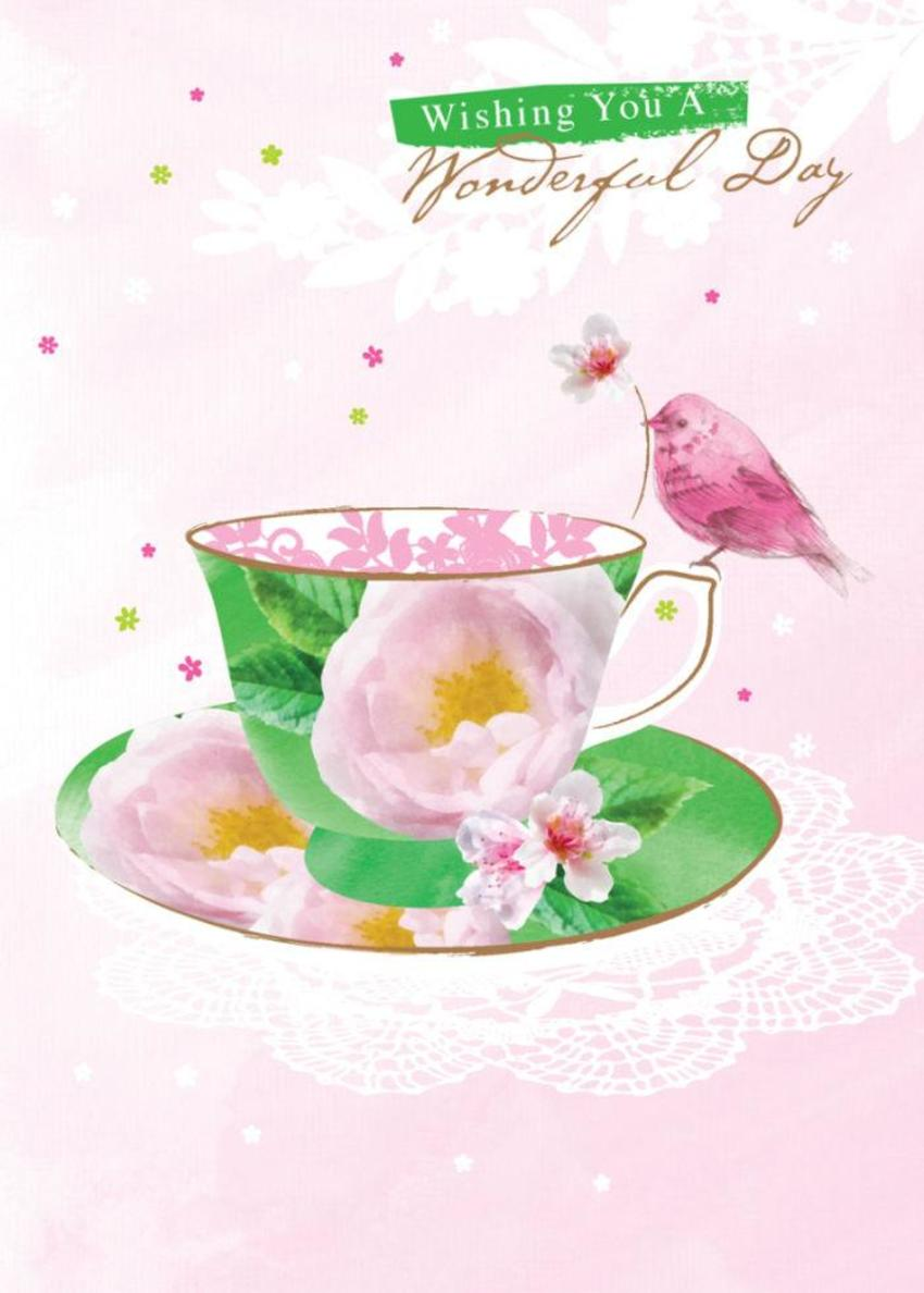 Female Birthday Mothers Day Bird On Teacup With Flowers 2
