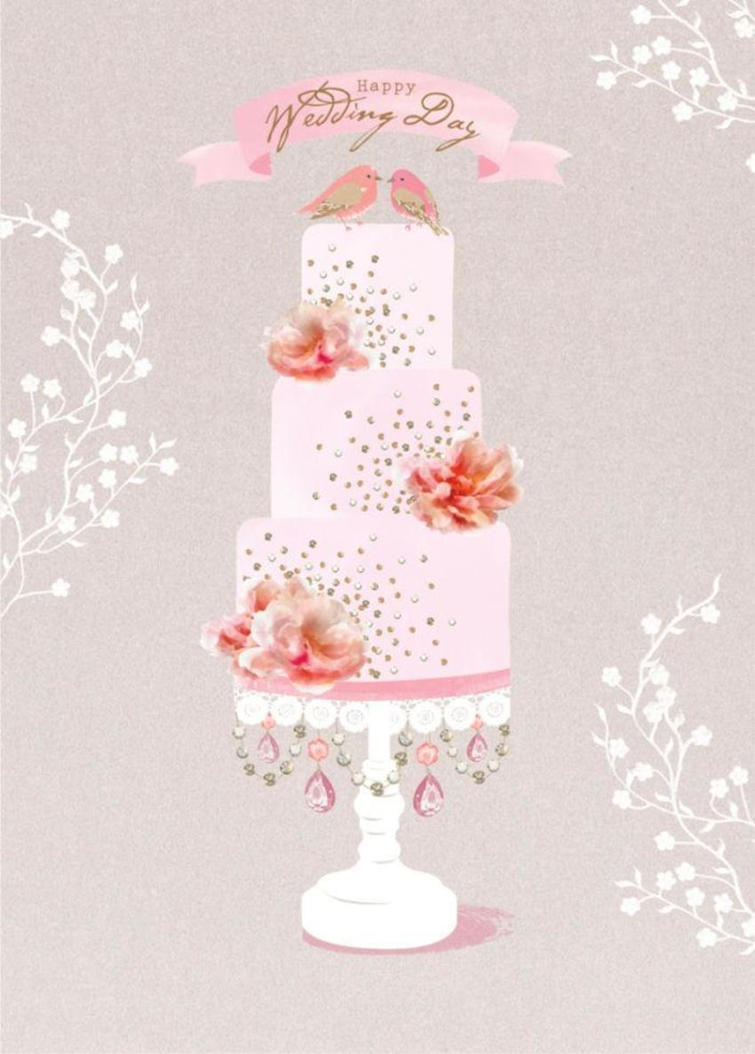 Wedding Cake With Roses And Love Birds