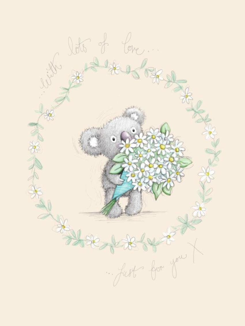 Gail Yerrill Katy Koala With Daisies Cute004
