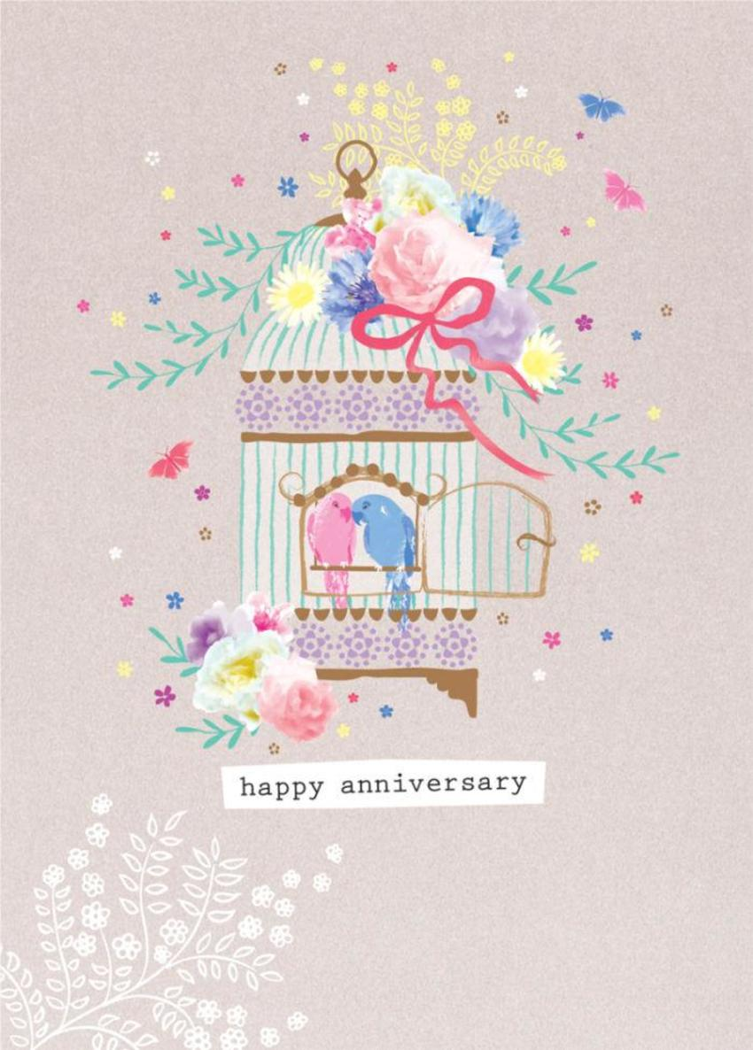 Love Anniversary Valentines Day Engagement Love Birds Parrots In A Bird Cage
