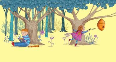 girl-boy-in-woodland