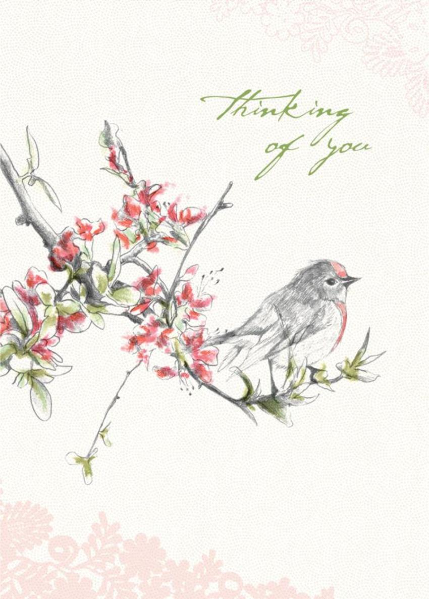 Female Birthday Mothers Day Thinking Of You Sympathy Floral Bird Sitting On Flowers