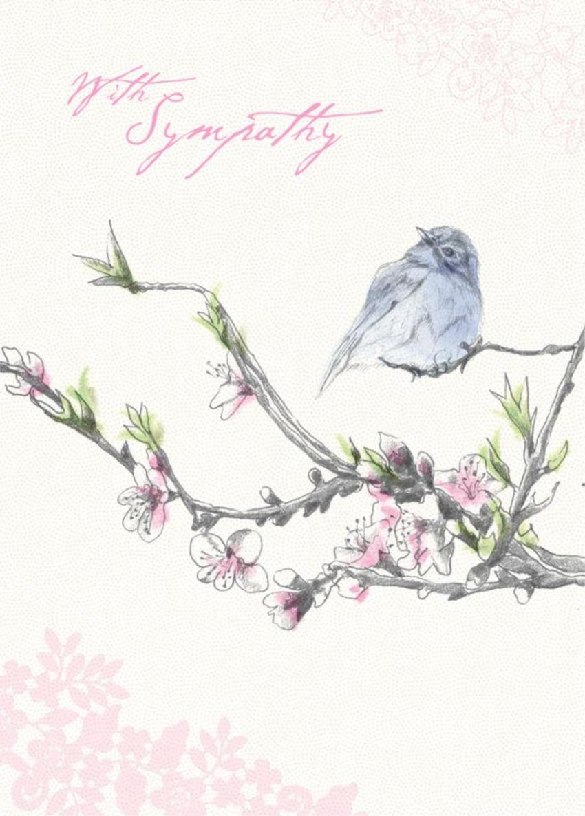 Female Birthday Mothers Day Thinking Of You Sympathy Floral Bird Sitting On Cherry Blossom