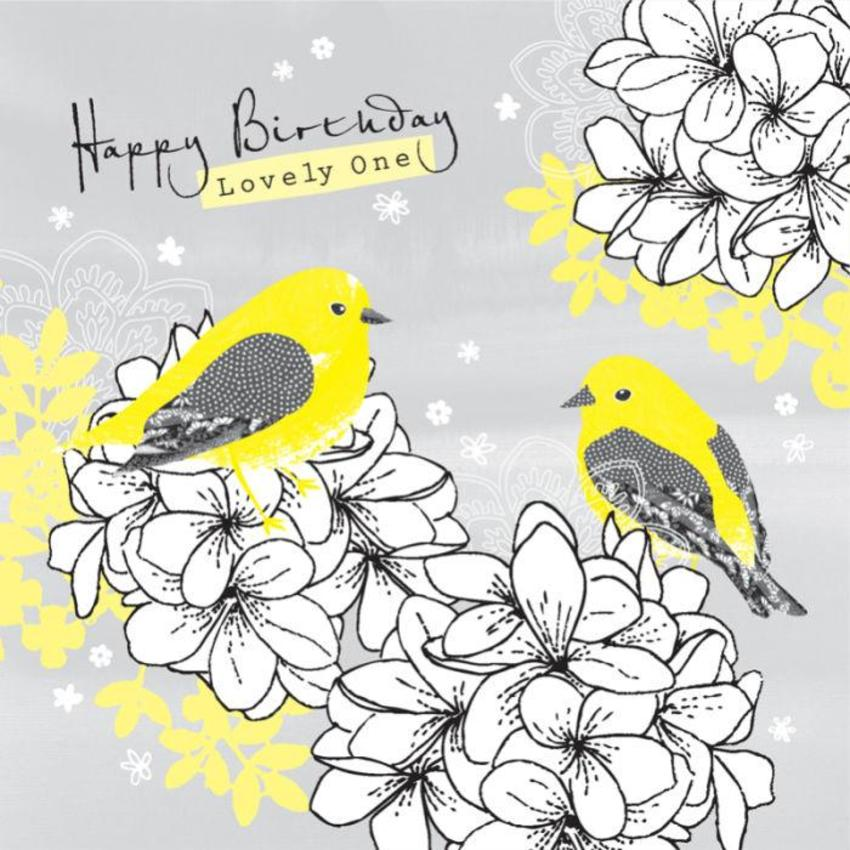 Female Wife Birthday Love Floral Annivesary Birds On Flowers