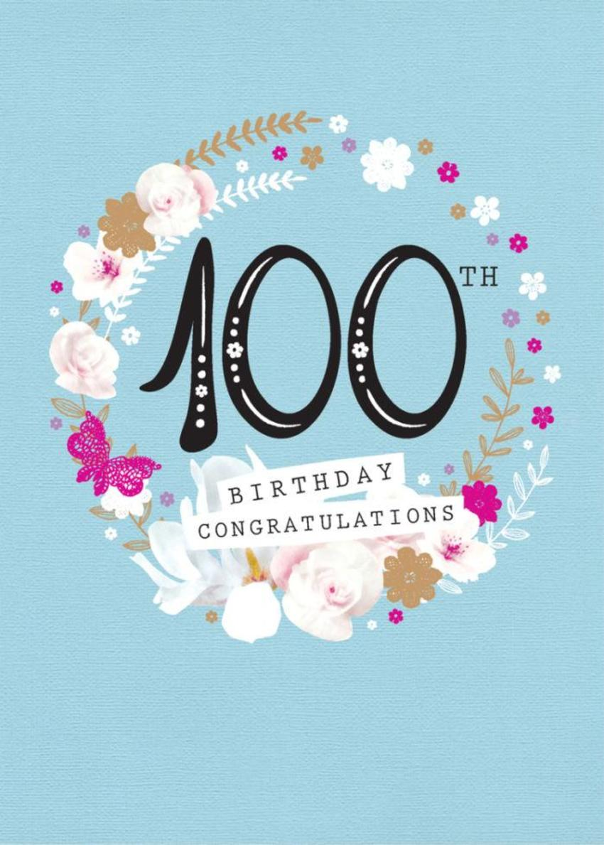 Age Birthday Milestone Big Number 100 100th In Floral Wreath