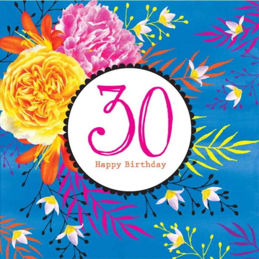 Milestone Age Female Birthday  Birthday Big Number Floral Bright Flowers On Blue Background