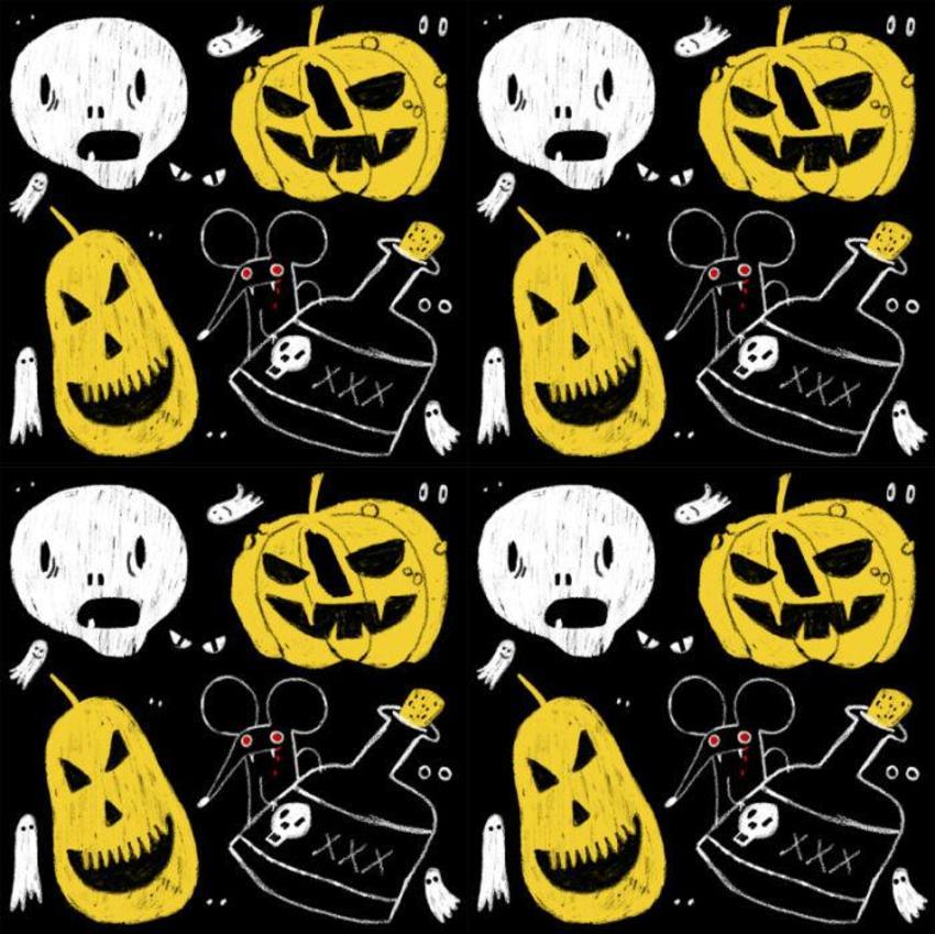 Halloween Pumpking Skull Gosth Mouse Eyes Poison Spooky Terror Pattern