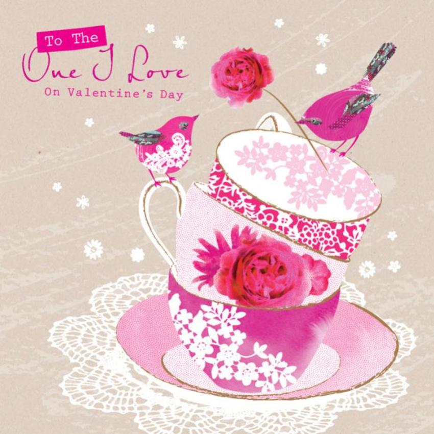 Love Anniversary Valentines Day Wife Birthday Thank You Birds On Pink Teacups