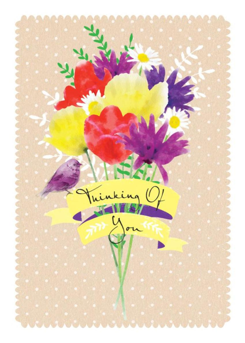 Thinking Of You Get Well Thank You Female Birthday Mothers Day Floral Bunch Of Flowers And Bird