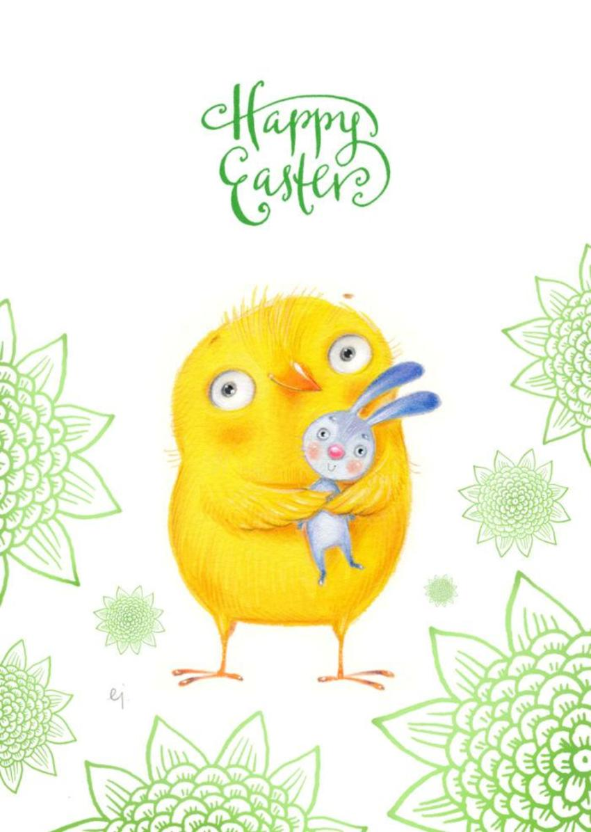 Happy Easter Bird With Bunny 2