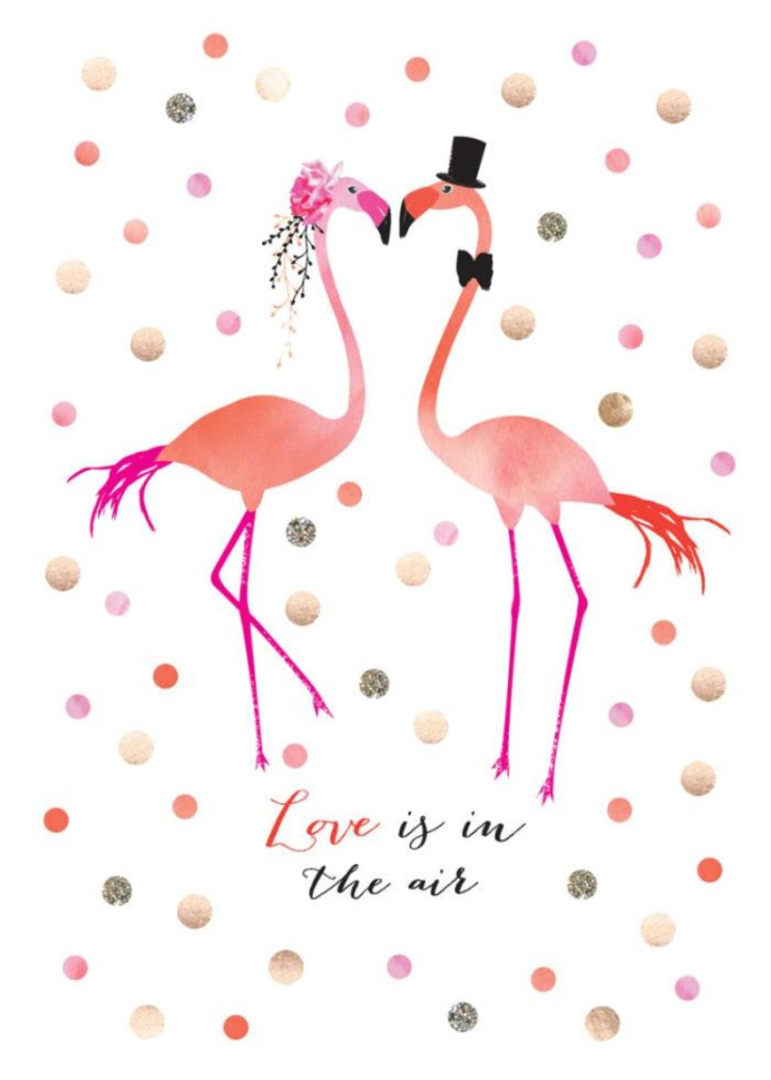 Wedding Bride And Groom Tropical Wedding Flamingos With Spots