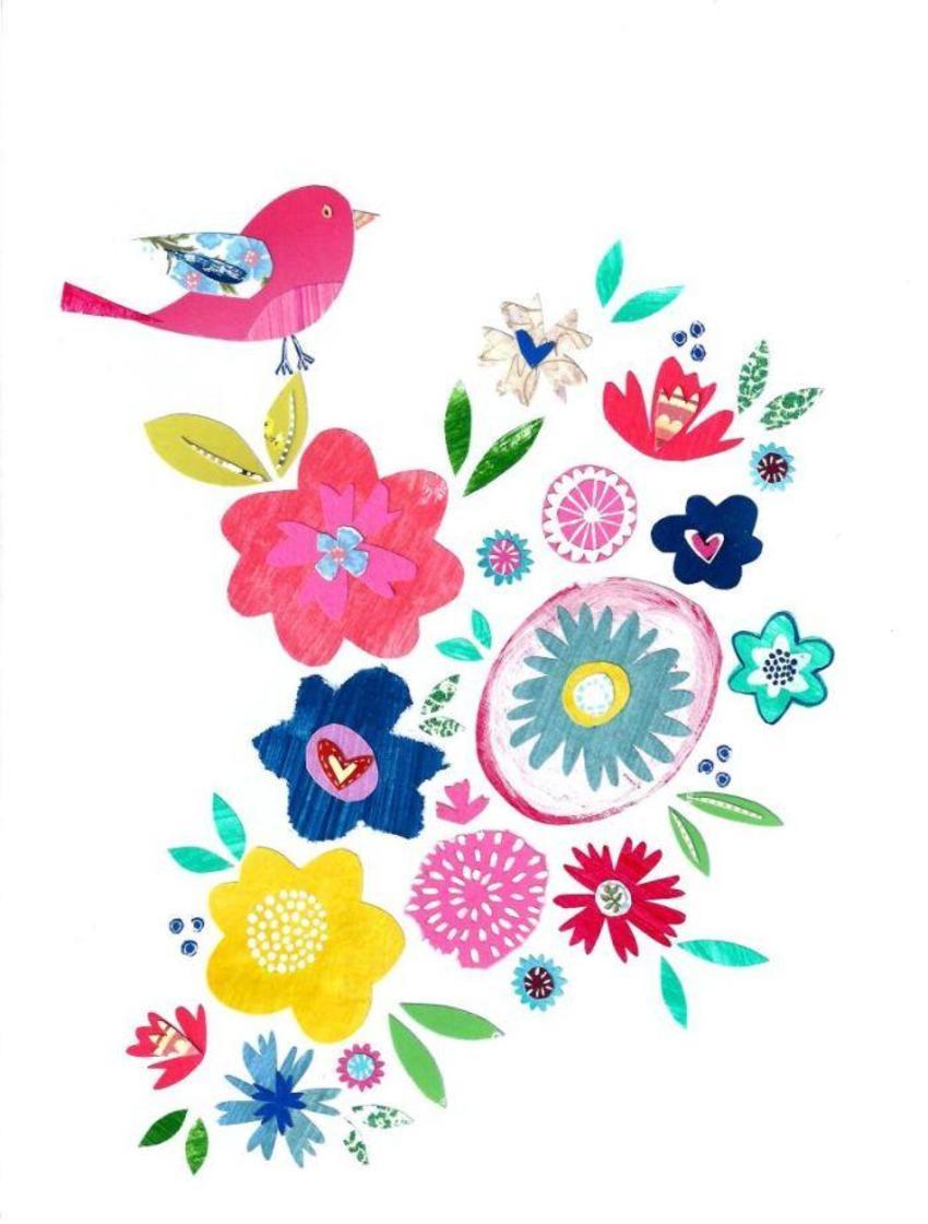 Liz & Kate Bird Atop Flowers